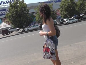 Gorgeous outdoor upskirt with leggy babe