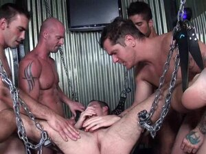 Gangbang of gay guy in a sling