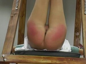 Sexy brunette being spanked with force