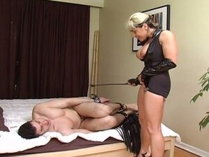 Big tits blonde mistress torturing horny babe eating hunk