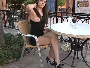 Beautiful Brunette Girl Giving a Glance of Her Boobies and Pussy in Public
