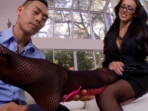 Babe in nylons is wanking this hard Asian dick