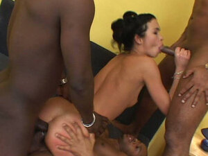 Provocative white bitch gets pounded hard and stretched in a hardcore gangbang video