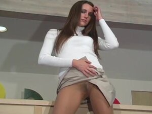 Turtleneck sweater and pantyhose on tease girl