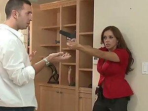 Brunette Pulls Gun On Guy Who Slams His Gun In All Her Holes