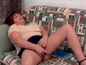 Old lady caught masturbating sucks dick
