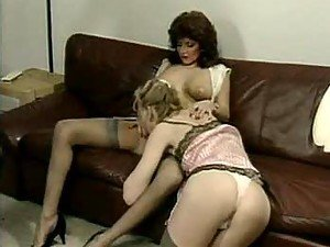 Lingerie retro ladies get on top and eat