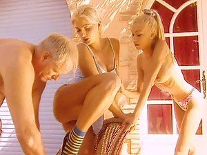 World's Greatest Grandpa Fucking Two Hot Blonde Babes
