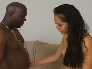 Cute latina bitch gets a big black cock on her pussy