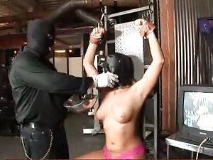 Aurora Snow feels no pain when her dominatrix slaps her luscious full breasts covered in cum! Wearing a full face mask, not being able to see, Aurora gets punished for spitting out cum that was fed to her, since she doesn't like her meal maybe she'll like