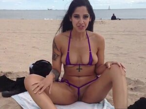 Dirty Girl Teasing Her Pussy At The Beach