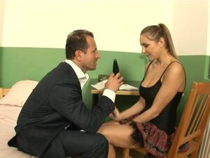 Naughty schoolgirl is taught to please prick
