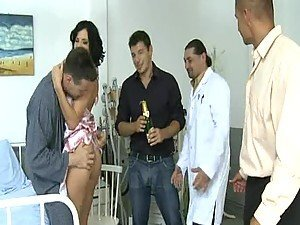 Horny Brunette Getting Gangbanged By Doctors In Hospital