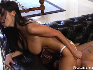 Ava Addams takes off her thong to hop onto her man's hard cock