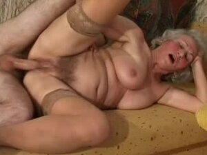 Blonde granny Norma Doing takes a wild ride on some guy's prick