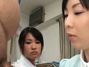 Japanese dirty nurses taking cum samples from their patients