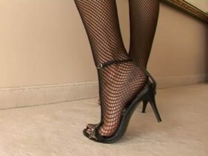 Foot Fetish With Gorgeous Broad In Fishnet Stockings