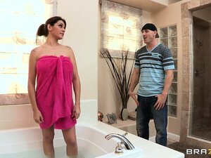 Horny bald stud helps his friends mom in the bathtub and she sucks his cock