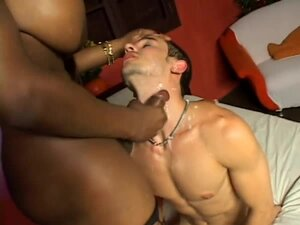 Busty Black tranny has rough sex with a White guy