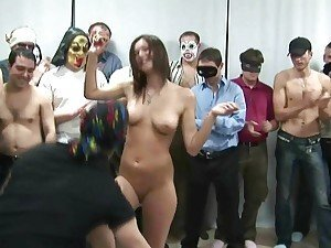 BUSTY GIRL AT CZECH GANG BANG PARTY HAVING FUN