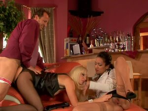 Hotties in pantyhose fucked in threesome
