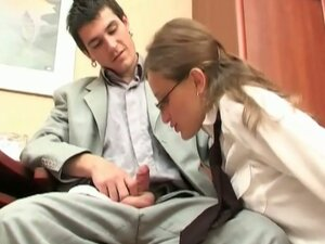 Naughty brunette teen secretary no holds barred office fucking
