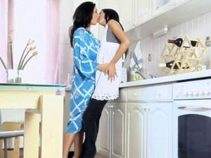 Hot brunette lesbians kissing and having lesbian sex in the kitchen