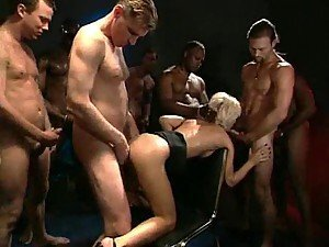Blonde with great body is gangbanged