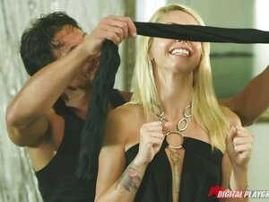 hot blonde gets blind folded and taken advantage of