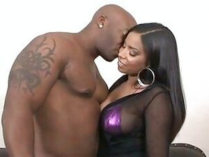 Big nipped Havana Ginger has her black bald bush slammed with black cock