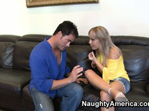 Busty blonde mom Jessica Moore has a horny hunk to entertain