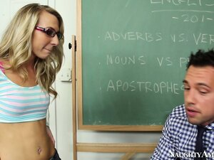 Naughty blonde Kiarra Knight sucks the teacher's cock and balls