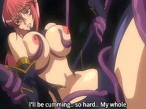 Busty hentai girl gets whipped and drilled by huge penis tentacles