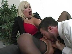 Amazing blonde milf with big tits getting pussy licked and doing blowjob