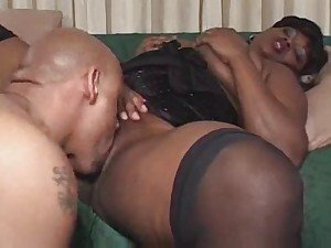 Horny black slut bumped up the butt by dong