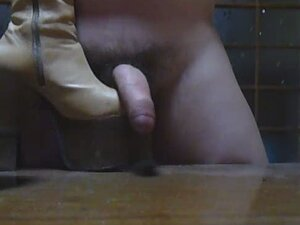 Cock tortured with massive chunky high-heeled platform boots