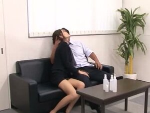 Japanese hottie enjoys 69 and rear banging in an office