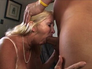 Annabelle Brady the blonde granny pleases a bald guy