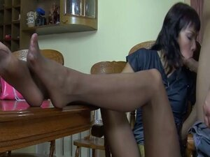Enchanting brunette whore in stockings naughty foot fetish fun