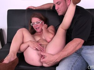 Girl in white glasses Scarlett Wild swallows big cock and spreads her legs