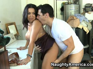 Sweet Sienna West swallows big bayonet and is banged from behind