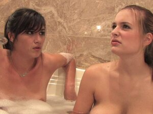 Dark haired skinny lesbians with big tits get randy in bathroom