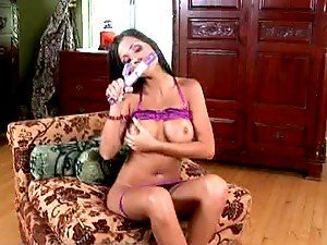 Janessa Brazil the hot brunette rides big dildo