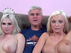 Bleach blondes with big tits in threesome