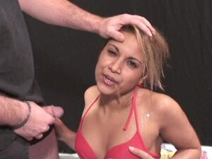 Blonde swallows piss and sperm!
