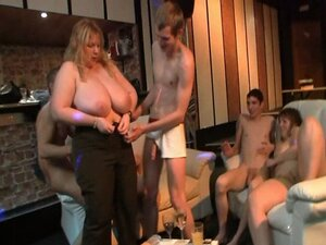 Fat blonde rides and sucks cock at party