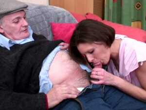French brunette babe fuck an old man in the shop. Hot video. Cameltoe