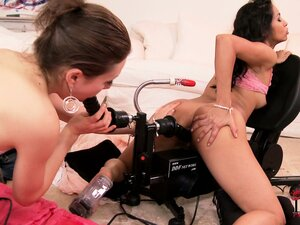It's a fun machine fuck party for two hot brunette lesbian gals