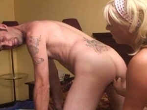 Busty blonde femdom takes advantage of white ass