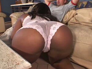 Horny ebony babe hard drilled into her ass.